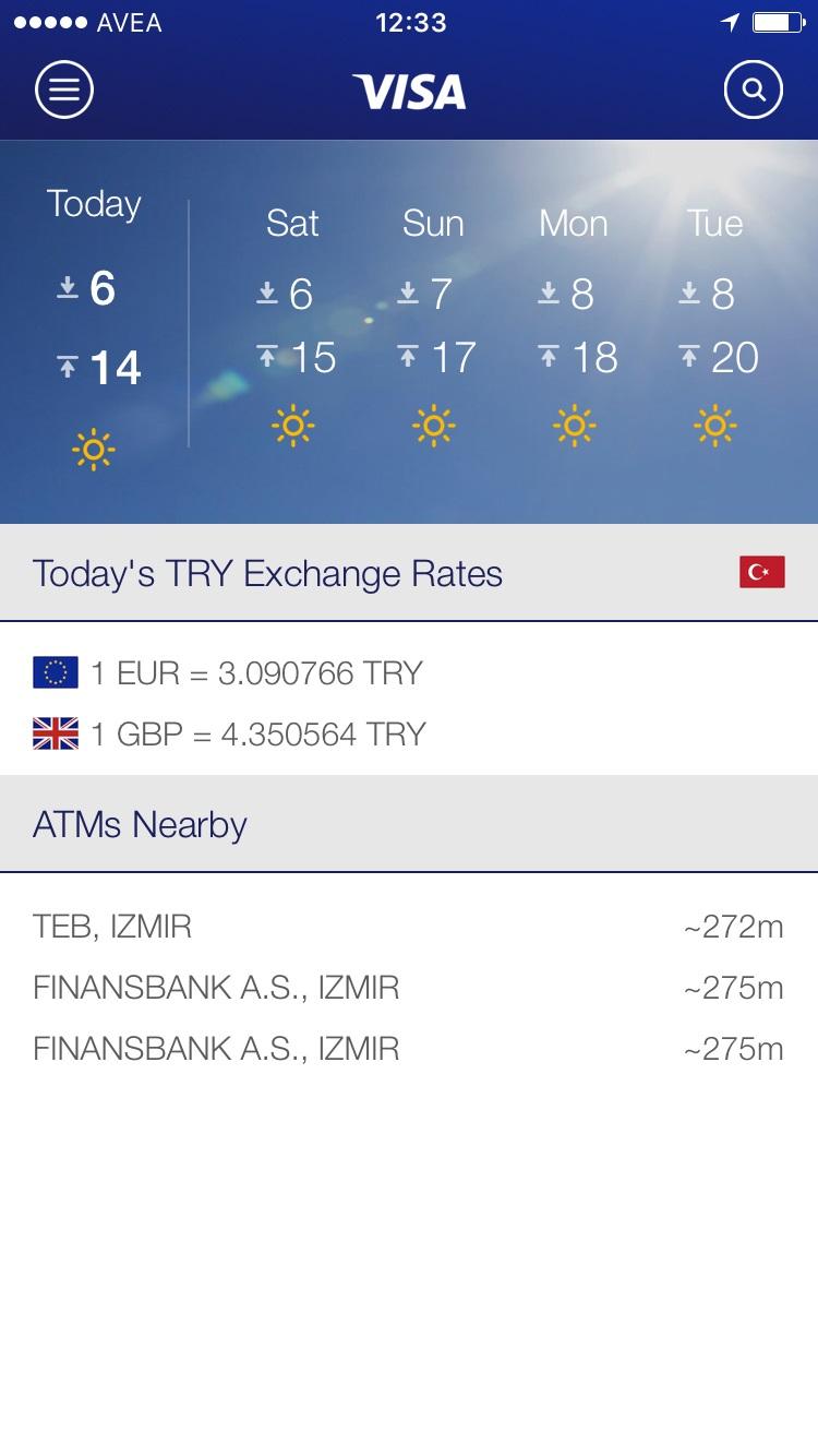 Visa Seyahat Uygulaması - Giriş Ekranı