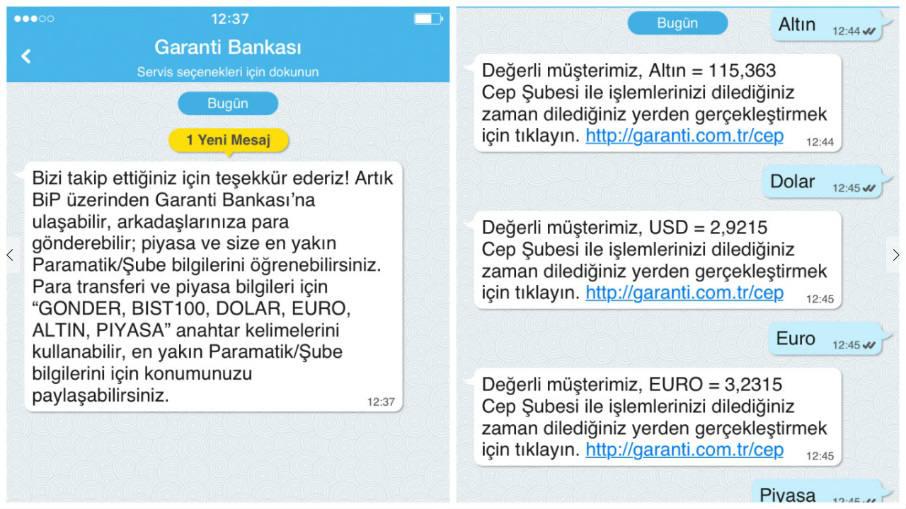 Garanti Bankası BiP ekranı.