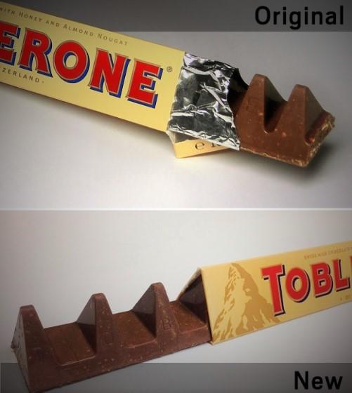 Toblerone 'un eski hali (üstte), yeni hali (altta).